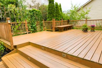 wooden deck of a family home